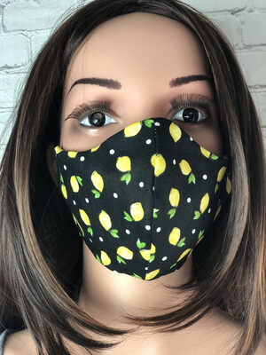 Lemon Dots Print Handmade Face Mask