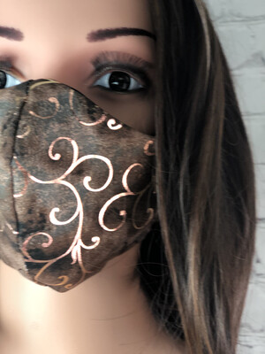 Rose Gold Swirls Print Handmade Face Mask