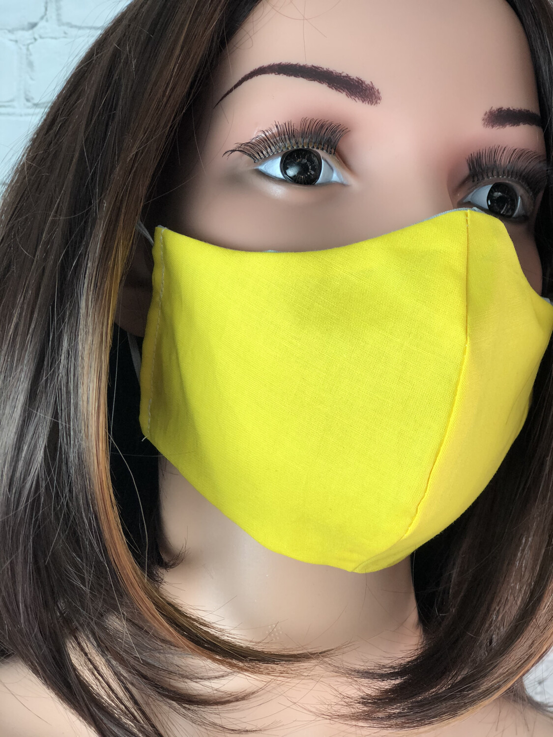 Solid Yellow W Gray Handmade Face Mask