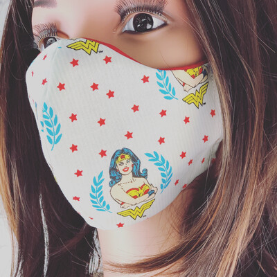 Wonder Woman Print Handmade Face Mask