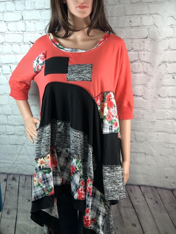 S Threads Upcycled OOAK Peach Roses Flare Tunic Lagenlook Refashion Boho Sustainable Clothing Aline Design Size XL