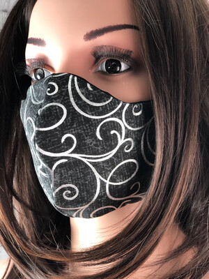 Black Silver Swirls Print Handmade Face Mask