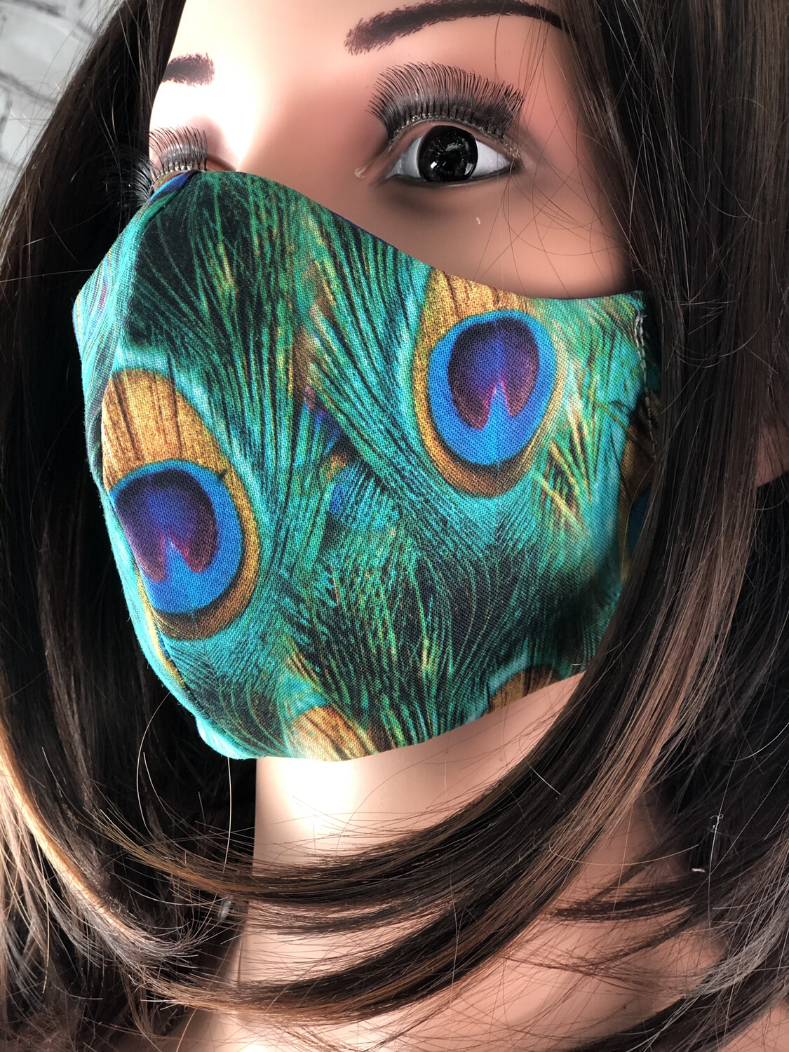 Peacock Feathers Print Handmade Face Mask