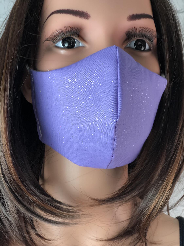Purple Sparkle Print Handmade Face Mask
