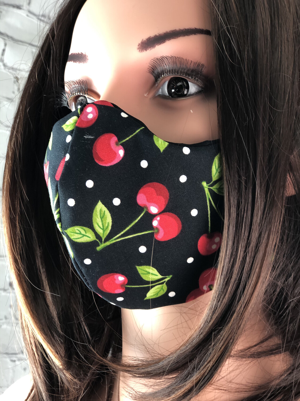 Cherry Polkadot Print Handmade Face Mask