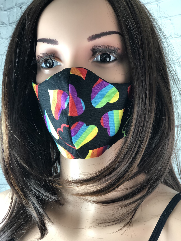 Rainbow Hearts Print Handmade Face Mask