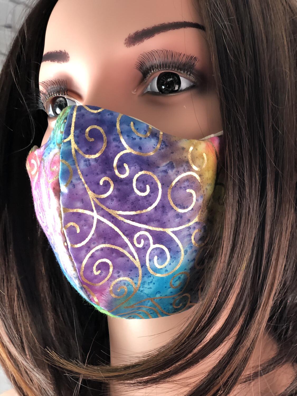 Multicolor Tie Dye Gold Swirls Print Handmade Face Mask