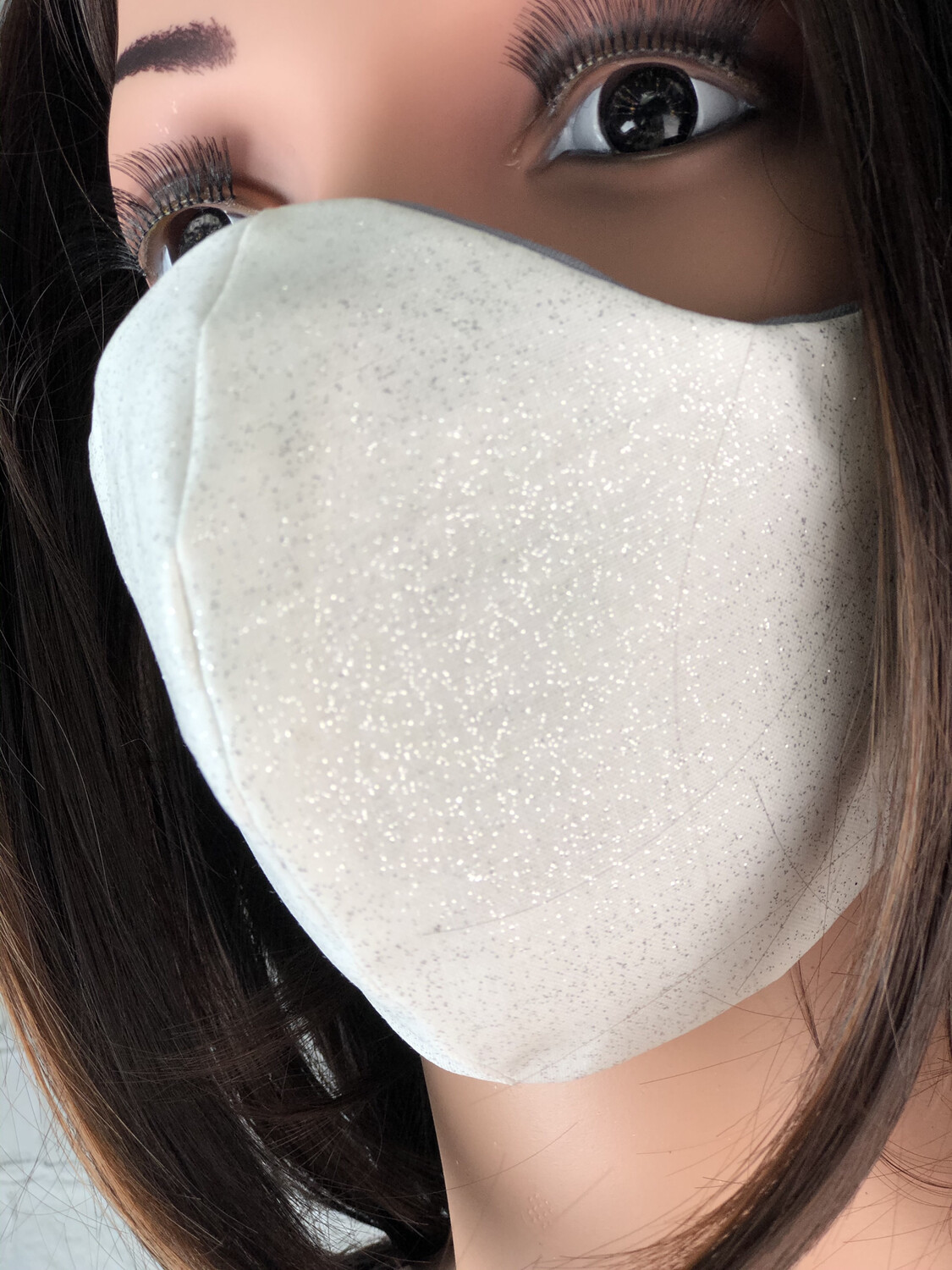 White Silver Sparkle Handmade Face Mask