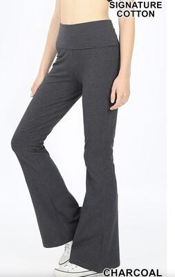 Cotton Flare Pants Charcoal Yoga Band Size Small, Medium, XL