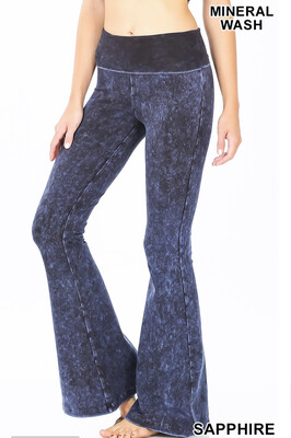 Cotton Flare Mineral Wash Sapphire Pants W Yoga Band Size Small, XL