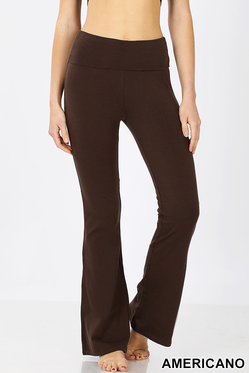 Cotton Flare Pants Chocolate Brown Yoga Size Small, Large
