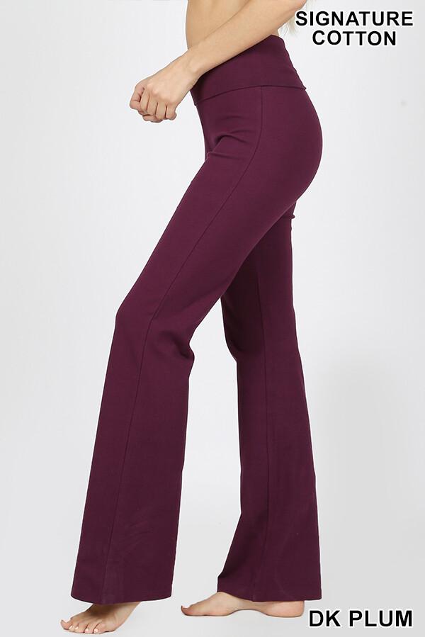 Cotton Flare Pants Plum Yoga Size Medium, Large