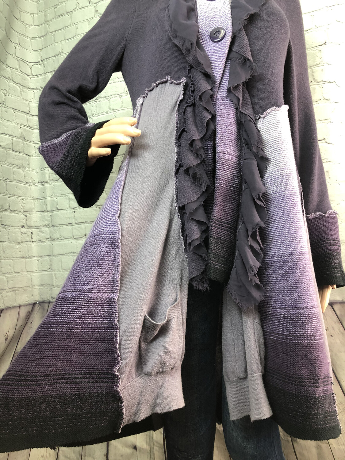 S Threads Upcycled Wearable Art Lavendar Sweater Coat Katwise Inspired Panels Recreated Recycled Size Medium Large