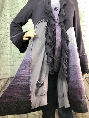 S Threads Upcycled Wearable Art Lavendar Sweater Coat Katwise Inspired Panels Recreated Recycled Size M