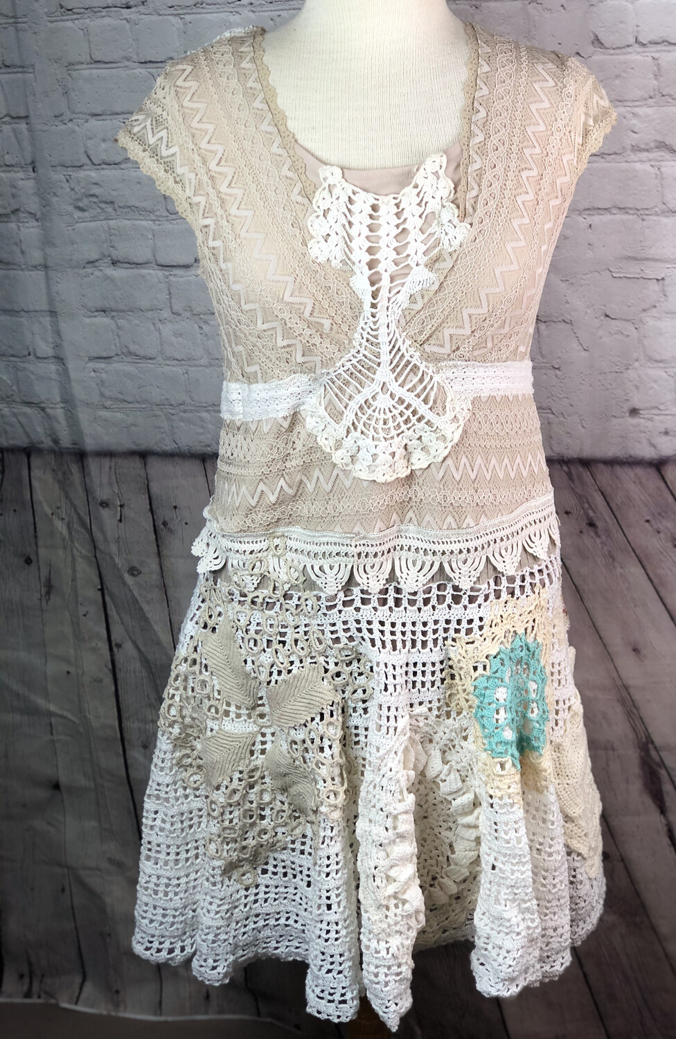 Romantic Shabby Chic Crocheted Upcycled S Threads Doily Dress Wearable Art Boho Repurposed Sustainable Vintage Lace Size Medium