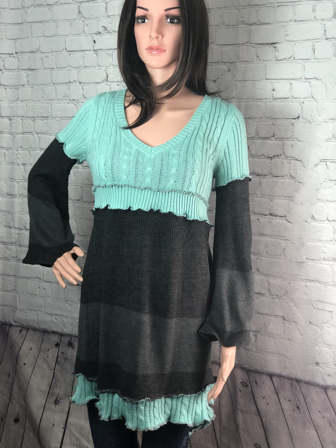 S Threads Upcycled Recycled Bell Sleeve Sweater Dress OOAK Refashion Ruffle Hem Recreated Outside Seam Size Medium