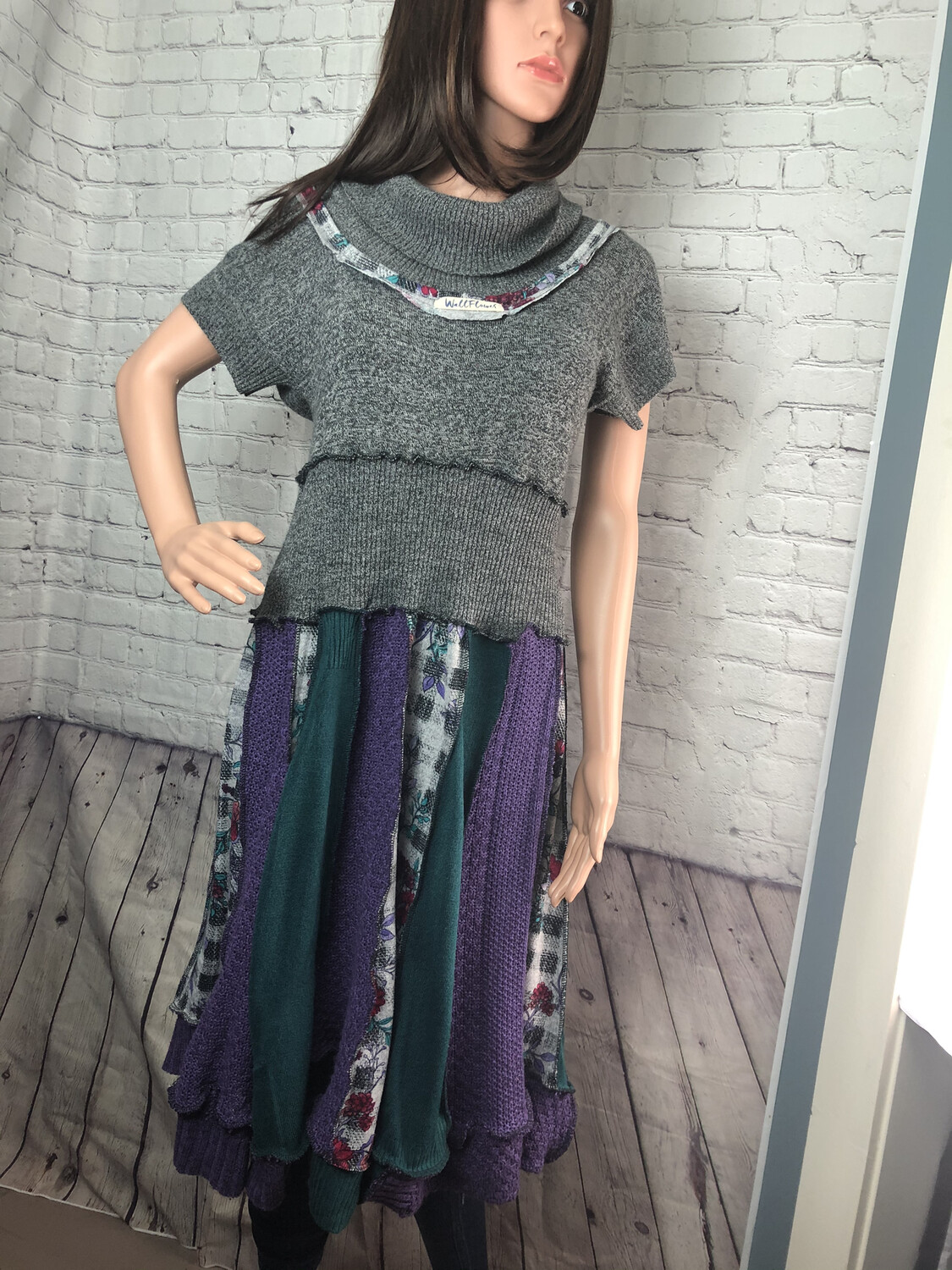 S Threads Upcycled Wallflower Sweater Dress