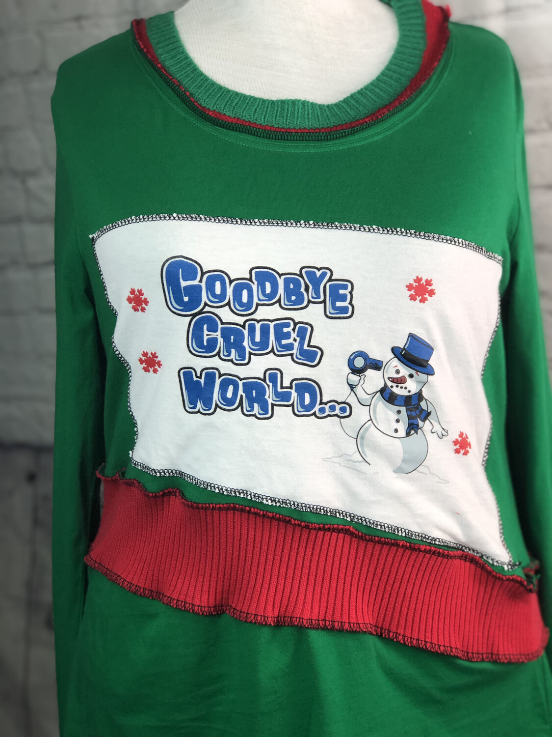 S Threads Upcycled Christmas Melting Snowman