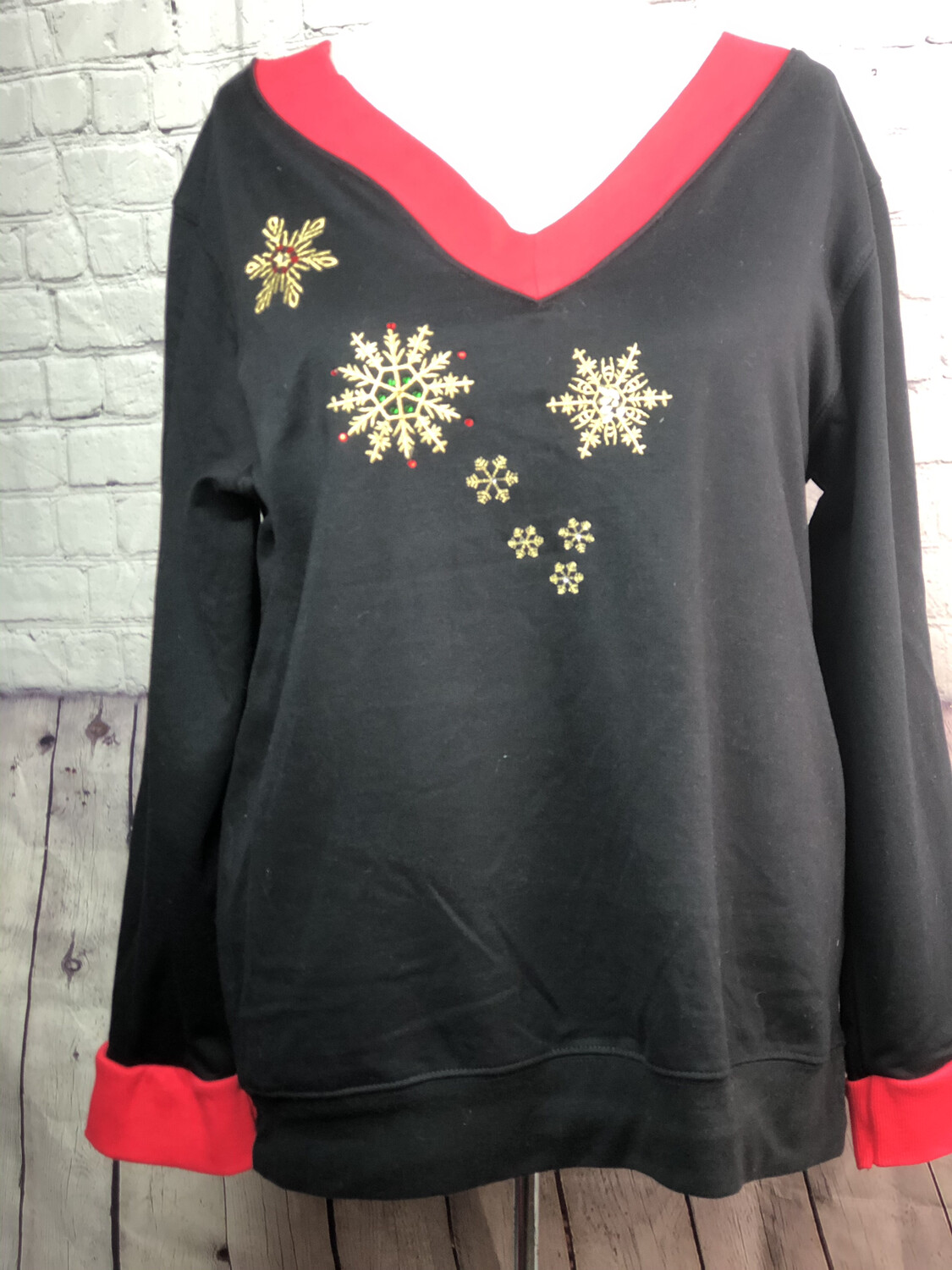 Christmas Recycled Material Sweatshirt Top S Threads Boutique Upcycled Repurposed Holiday Wearable Art OOAK Size XL