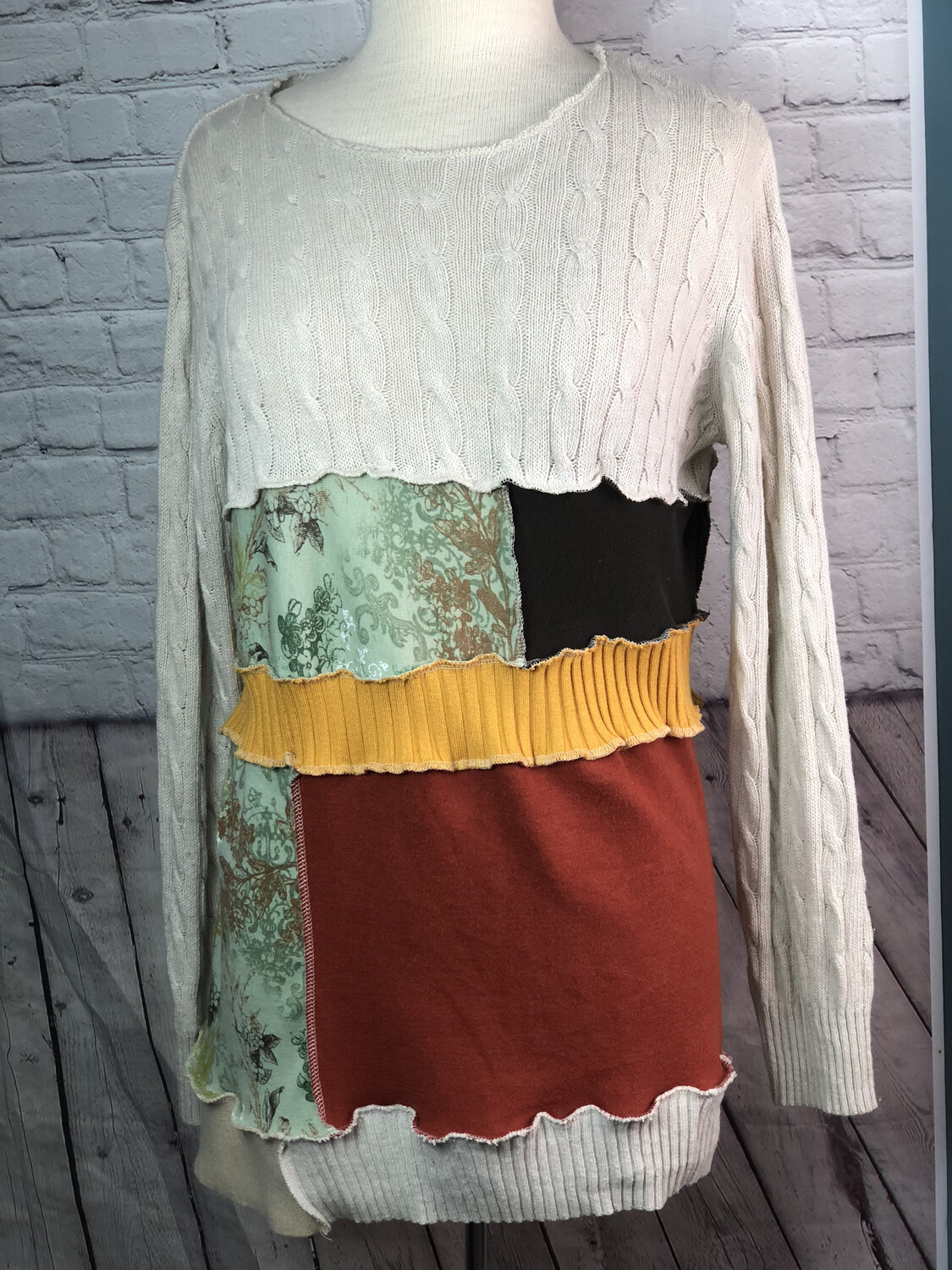 S Threads Upcycled Sweater Patchwork Colorful Recreated Beige Knit Pieced Overlock Outside Seams OOAK size L