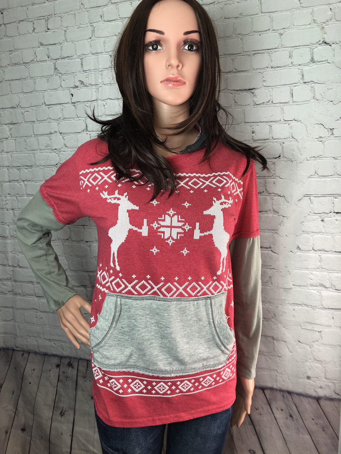 S Threads Upcycled Christmas Blitzed Deer Hooded Tee