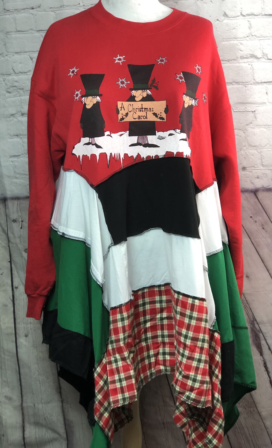 Christmas Sustainable Fashion S Threads Recreated Recycled Bah Humbug Aline Lagenlook Flare A Christmas Carol Sweatshirt Size 3X 4X
