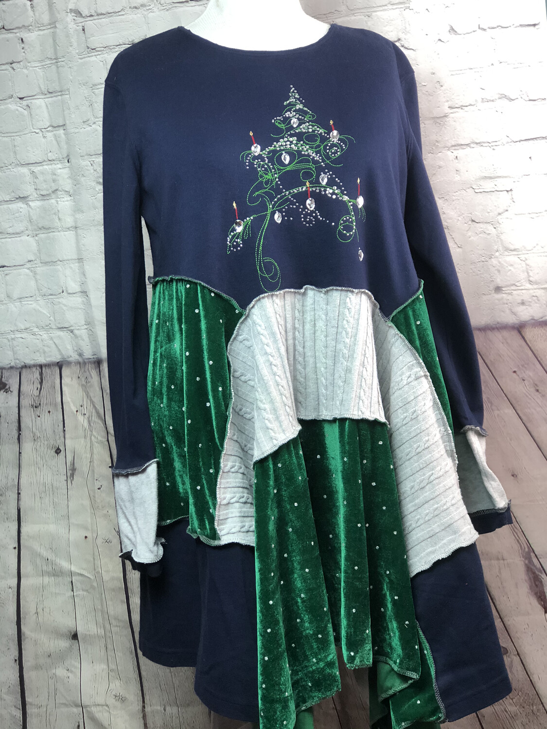 Christmas Sustainable Fashion S Threads Recreated Recycled Holiday Tree Silver Velvet Aline Lagenlook Flare Sweatshirt Size XL 2X 3X