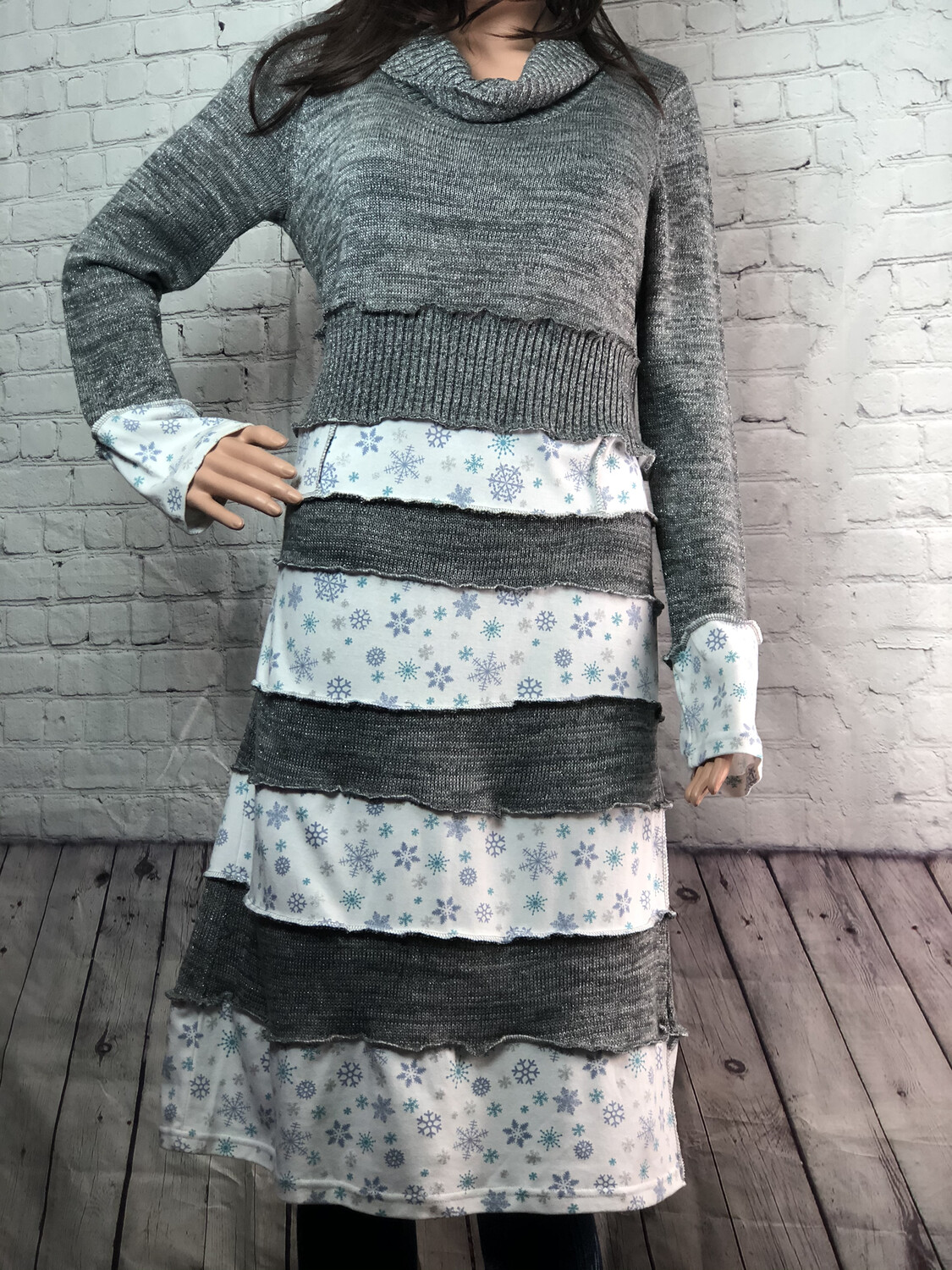 Silver Snowflake Dress Cowl Recreated Sweater Overlock Outside Seams Ruffle Layer Lagenlook OOAK size Large