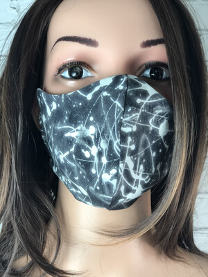 Black Bleach Splatter Print Handmade Face Mask
