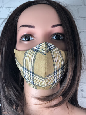 Brown Plaid Print Handmade Face Mask