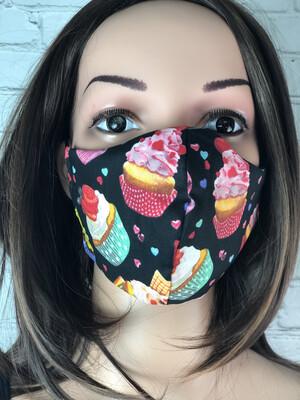 Cupcake Print Handmade Face Mask
