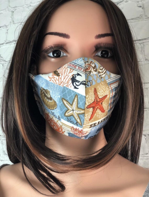 Beach House Print Handmade Face Mask