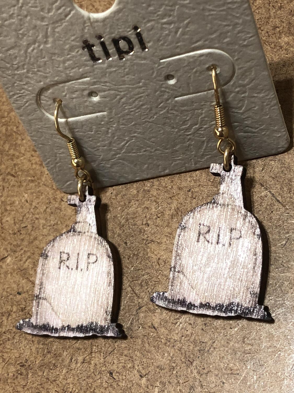 Halloween Earrings Wooden Lightweight Tombstone