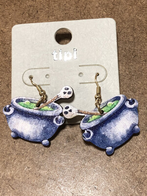 Halloween Earrings Wooden Lightweight Caldron