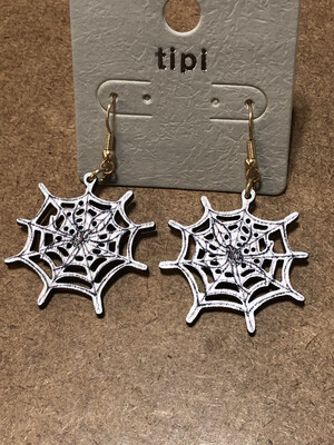 Halloween Earrings Wooden Lightweight Spider Web