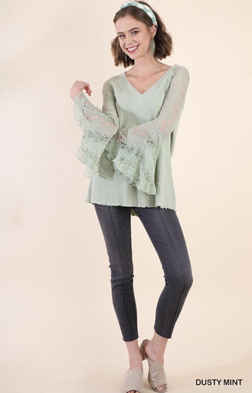 Top Long Sleeve BluHeaven Bell Sleeve Lace