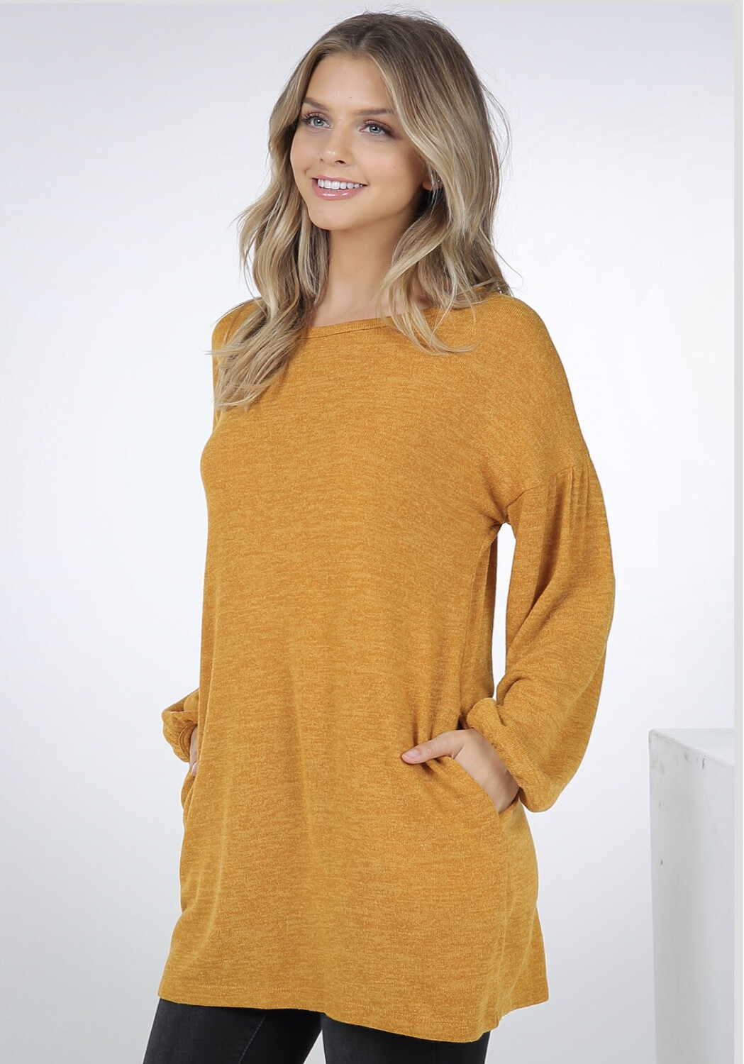 Top Poof Sleeve Sweater Fall Dark Yellow