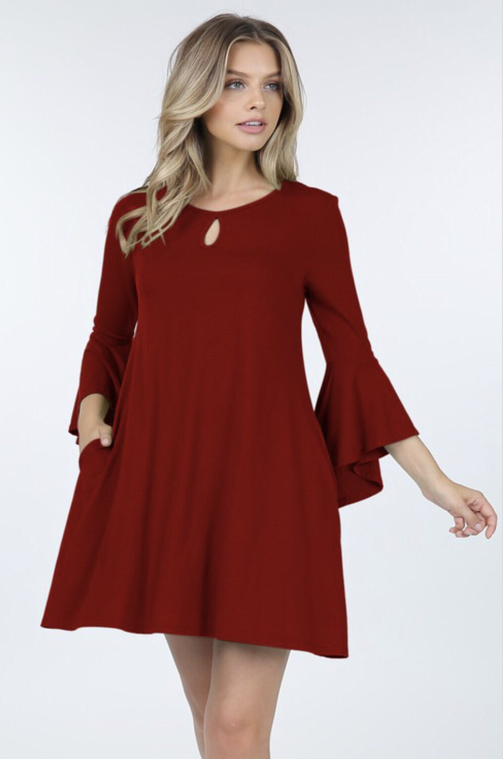 Dress Ruby Red Bell Sleeve Keyhole Stretch Fit Size S M L XL