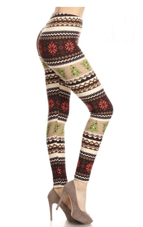 Leggings Christmas Trees One Size