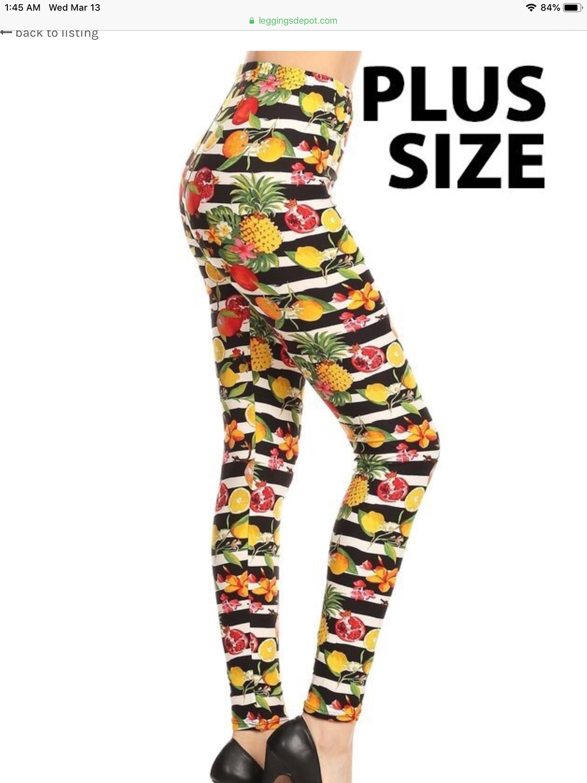 Leggings PLUS Size Fruit Stripes