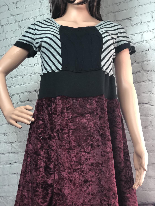 S Threads Upcycled Purple Velvet Dress