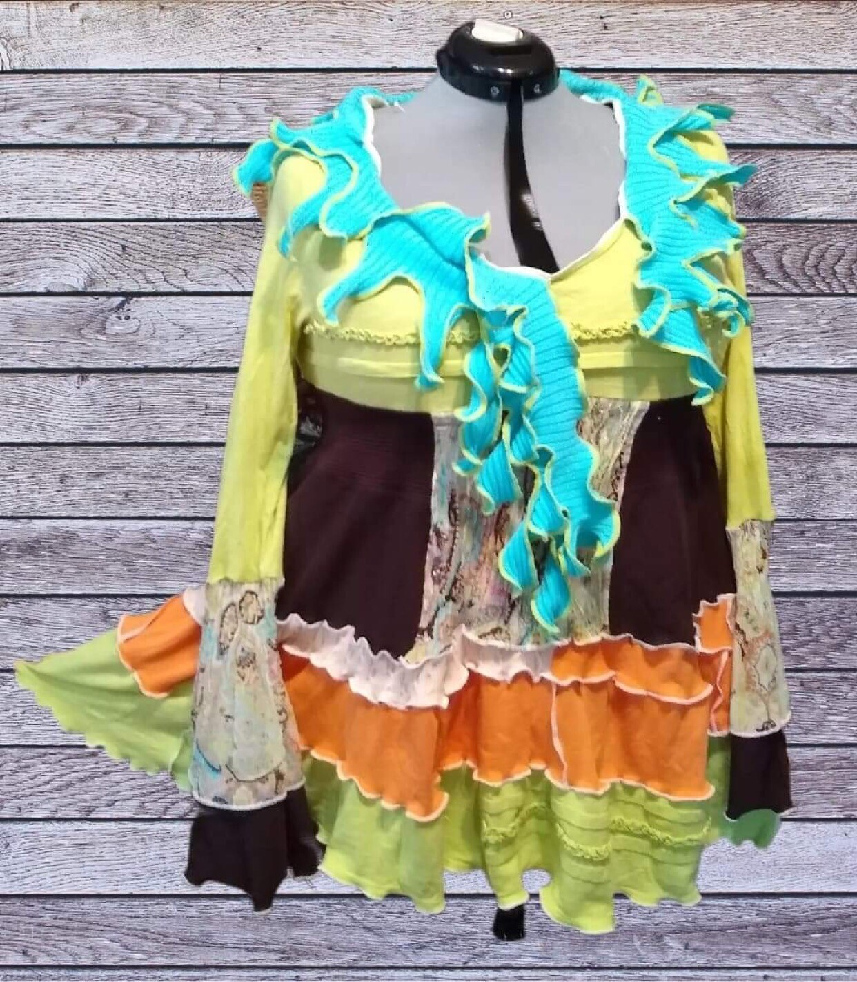 S Threads Epolstyle Mashup Upcycled Recycled Tunic L-2x