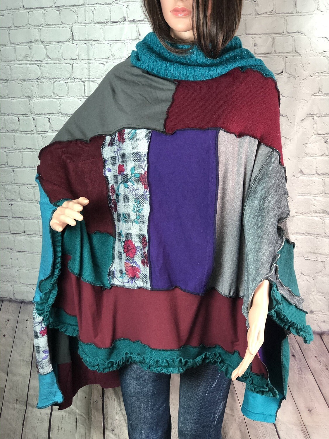 S Threads Recreated Recycled Sweater Poncho with Ruffle Trim Wearable Art Overlock Outside Seam Upcycled OOAK One Size