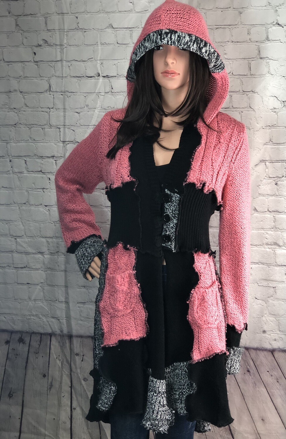 S Threads Upcycled Katwise Inspired Sweater DreamCoat Hooded Buttons Pockets Boho OOAK Size XL