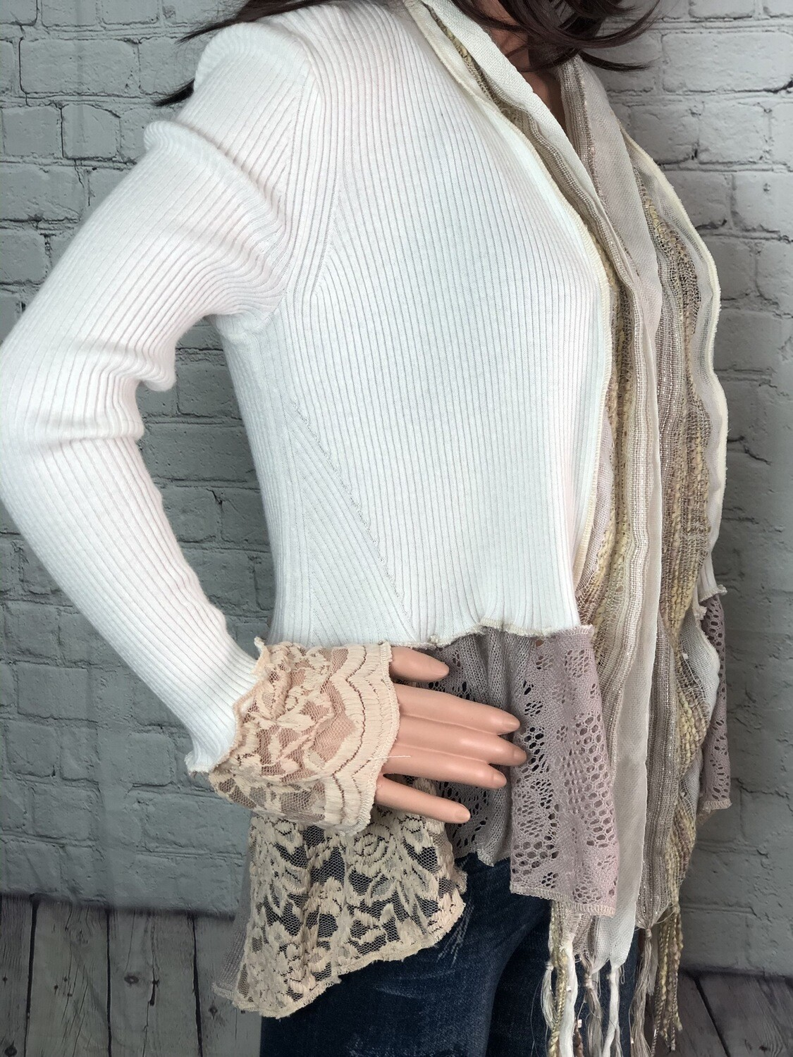 S Threads Upcycled Lace Ribbed Sweater Size M