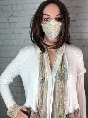 S Threads Upcycled Lace Ribbed Sweater W Matching Face Mask Size Medium