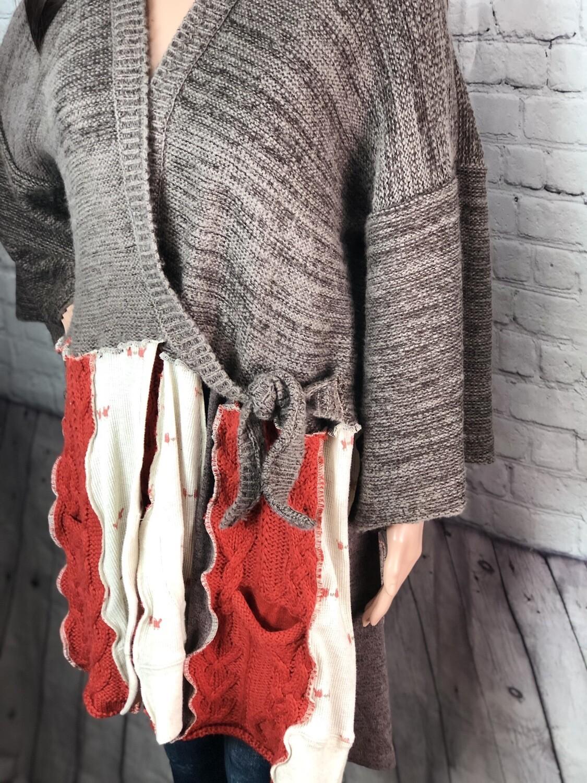 S Threads Upcycled Kimono Style Panel Sweater One Size