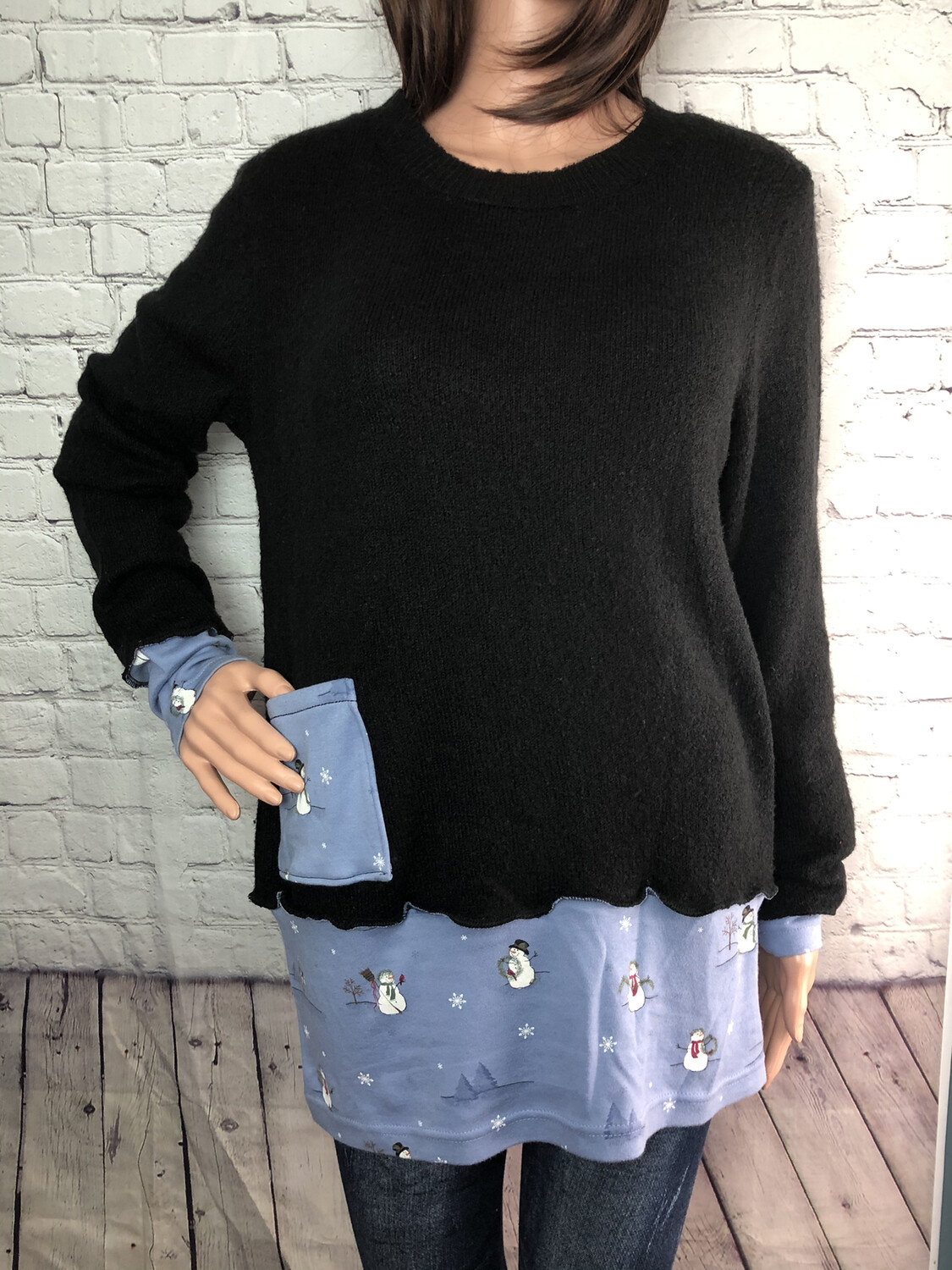 S Threads Boutique Upcycled Black Sweater with Pocket Snowman Eco Fashion Sustainable Materials Holiday Size Large