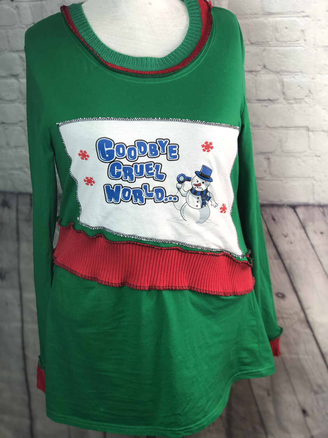 S Threads Upcycled Christmas Refashioned Sustainable Dress Melting Snowman OOAK Size Large