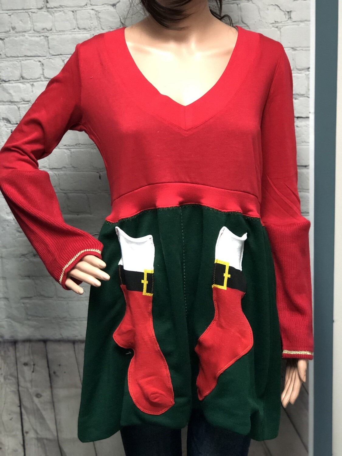 S Threads Boutique Upcycled Christmas Sweater Refashion w Sock Pockets Size Medium
